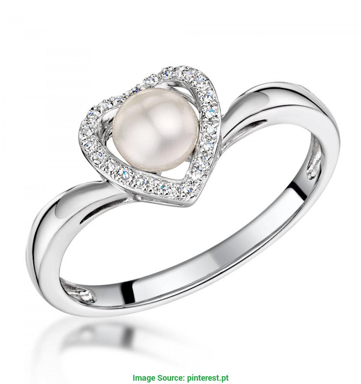 Melhor Ideia Anel Ouro Branco 9K Stellato Collection Pearl And Diamond Heart Ring In 9K White Gol