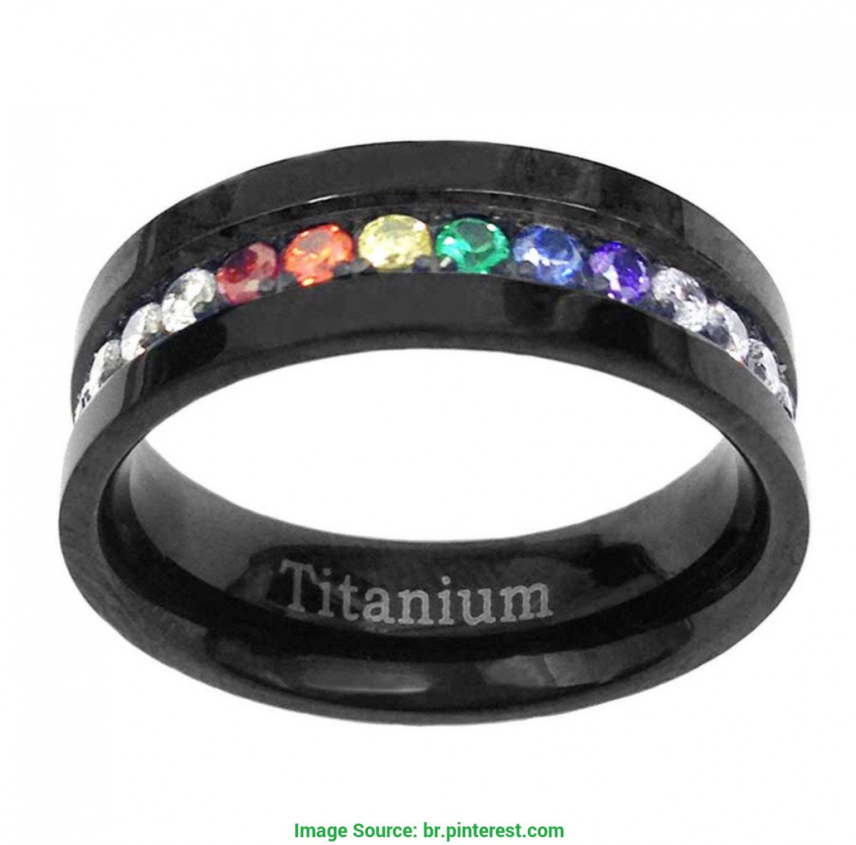 Popular Anel de Compromisso Lgbt Lgbt Rainbow Stone Titanium Wedding Band | Planos de Fund