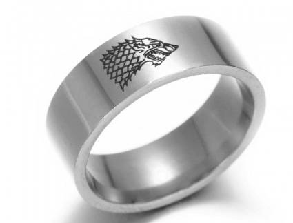 Luxo Anel Compromisso Game Of Thrones Compre Game Of Thrones Winterfell Stark Wolf Anel Prata Ouro Pret