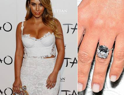 Luxo Anel de Noivado Kim Kardashian The Best Celebrity Engagement Rings! €