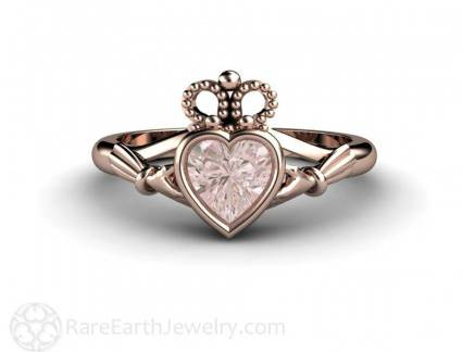 Melhor Anel de Noivado Irlandes Morganite Claddagh Ring Irish Engagement Ring Or Promise Ring Pin
