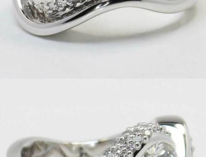 Surpreendente Anel de Noivado de Diamante Pw Twisted Diamond Engagement Ring And Matching Band In White Gol