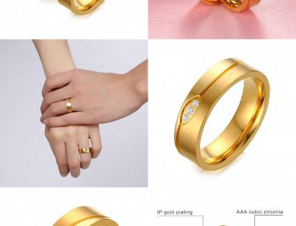 Topo Anel de Compromisso Gold Finger Visit To Buy] Vnox Gold-Color Wedding Ring For Women/men Cz Ston