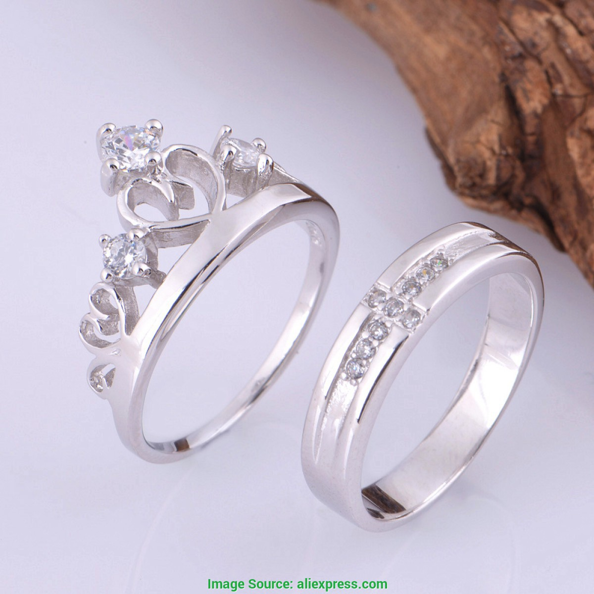 Único Anel de Compromisso 2016 Couple Silver Rings Cz Zircon Lover Crown Ring Wedding Accessorie